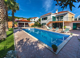 Rustic palm tree villa with swimming pool in Sumartin, Brač Island