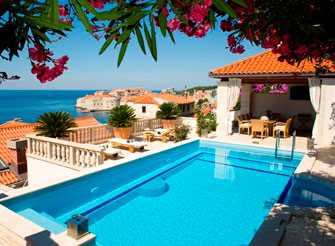 The imposing white stone luxury villa in Dubrovnik with great view