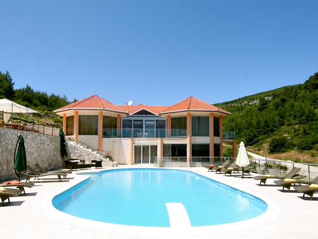 View from the pool area on the 5 star exclusive villa on the island Korcula in Dalmatia Croatia