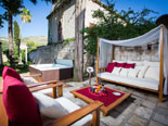 Leisure area with Jacuzzi in front of this holiday villa in Dubrovnik