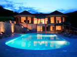 Seafront five star luxury villa on the island of Korcula in Croatia by night