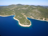 Aerilal view on the bay with five star luxury villa on the island of Korcula in Croatia
