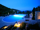 View on pool area in the 5 star luxury villa on the island Korcula in Dalmatia Croatia by night