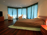The Turquoise bedroom in five stars luxury villa on the island of Korcula in Croatia