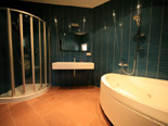 The Turquoise bedroom bathroom in five stars luxury villa on the island of Korcula in Croatia