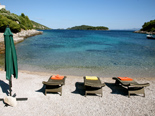 Pebble beach in front of the five star luxury villa on the island of Korcula in Croatia