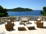 One of the leisure terraces of the waterfront luxury villa in Dubrovnik Croatia