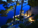Outside of the waterfront luxury villa in Dubrovnik Croatia by night