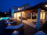 Seafront luxury villa on island Brac in the evening