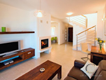 Living room in guest annex in luxury seafront villa on island Brac