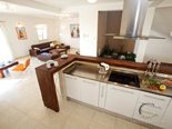 Kitchen and living room in five star holiday villa on island Brac in Dalmatia in Croatia