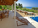 Sundeck and veranda in holiday villa on Dalmatian island Brač in Croatia
