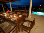 Evening on terrace in holiday villa on Dalmatian island Brač in Croatia