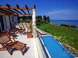 First floor terrace in luxury holiday villa on island Brac in Dalmatia in Croatia