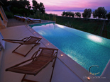 Sunset in luxury rental villa on island Brac in Dalmatia in Croatia