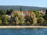Position on the beach of the luxury rental villa on island Brac in Dalmatia in Croatia