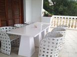 Outside furniture on villa terrace