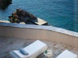 Sunbathing area and sea from the luxury Villa's terrace