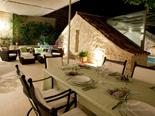 Outside terrace with indoor pool in luxury villa in Hvar Town in Dalmatia in Croatia