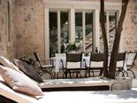 Outside terrace in luxury Dalmatian villa for rent in Hvar in Croatia