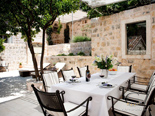Outside terrace in luxury Dalmatian villa for rent in Hvar in Croatia