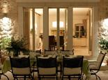 Outside terrace by night in luxury Dalmatian villa for rent in Hvar in Croatia