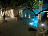 Outside terrace with indoor pool in luxury Dalmatian Hvar rental villa in Croatia
