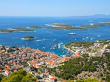 View of the town of Hvar and the archipelago of islands in front of it