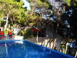 Pool area in Hvar vacation villa with sun leisure amenities