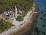 Aerial view on the lighthouse - a five star villa on the island Vir in Zadar region