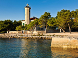 The view from the sea on the five star lighthouse villa on the island Vir in Zadar region