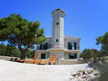 The view from the beach on the five star lighthouse villa on the island Vir in Zadar region