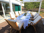 Outside dining area in the five star lighthouse villa on the island Vir in Zadar region