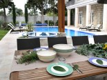 Dining on the pool of the luxury villa in Split Dalmatian Croatia