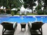Leisure on the pool of luxury villa in Split Dalmatian Croatia