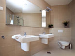 Bathroom in the modern Dalmatian seafront villa with pool on Brac Island in Split region