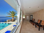 Terrace in front of the first floor bedrooms in rental villa on Korcula