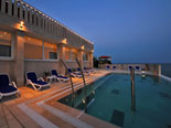 Pool area of this seafront luxury villa on Korčula island