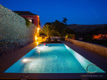 On the pool by night in the luxury villa on Dubrovnik Riviera