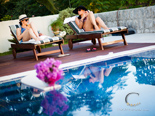 Relaxing by the pool in the luxury villa on Dubrovnik Riviera
