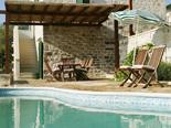 Pool detail in the old Dalmatian stone villa in Sumartin on Island of Brač Croatia