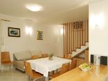 Dining and living room in the old Dalmatian stone villa in Sumartin on Island of Brač Croatia