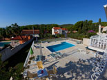 Pool area in Dalmatian stone holiday rental villa in Sumartin on Brač Island