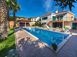 Pool area in holiday villa for rent in Sumartin on Brač Island in Dalmatia in Croatia