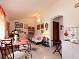 View from the kitchen on the living and dining room in Brač villa for rent
