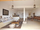 Living room, kitchen and dining room in the seaside rental villa on Brač Island