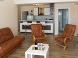 Kitchen and living room in second apartment in villa with pool in Sumartin on Brac island Dalmatia Croatia