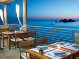Dusk view from restaurant terrace of five stars Hotel Dubrovnik Palace