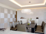 White Presidential suite dining room at the five stars Kempinski Hotel Adriatic Istria Croatia