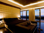Black Presidential suite bedroom at the five stars Kempinski Hotel Adriatic Istria Croatia